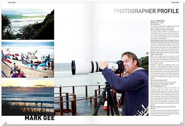 Australian Kiteboarder interviewed me recently - first 2 pages of the interview as they appeared in the magazine.