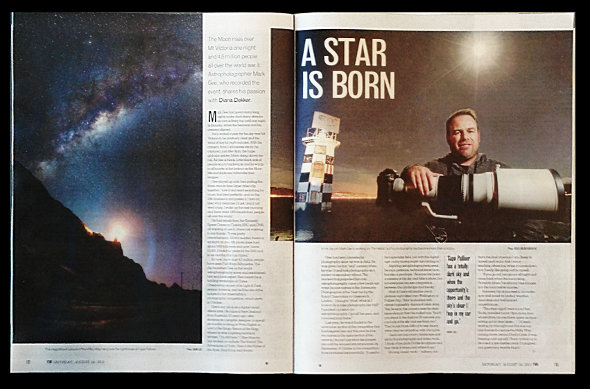 """A Star is Born"" was the headline of The Dominion Post's weekend magazine story on me...not sure if I totally agree on the headline but I really appreciate the effort they went to doing this story."