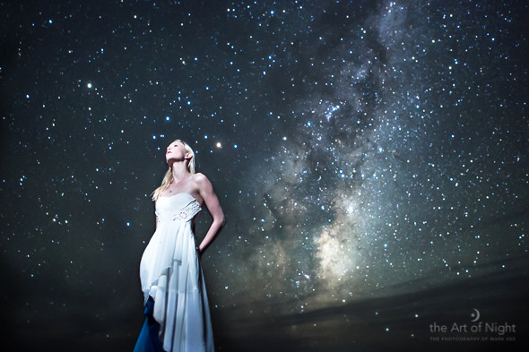 Kat against the night sky of Cape Palliser - the light part of the Milky Way towards bottom of frame is the center of our galaxy.