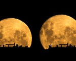 A sequence shot of the moon rising over Mount Victoria in New Zealand - click to view larger image.